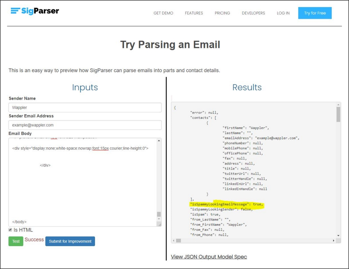 SigParser clasifies the sample email as a 'spammy looking E-mail message', using their ML.NET model