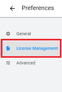 Licenses management button