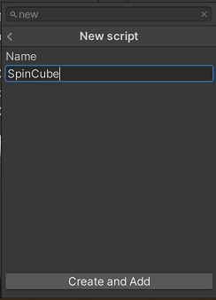 A menu to add a script to a game object in the Unity editor