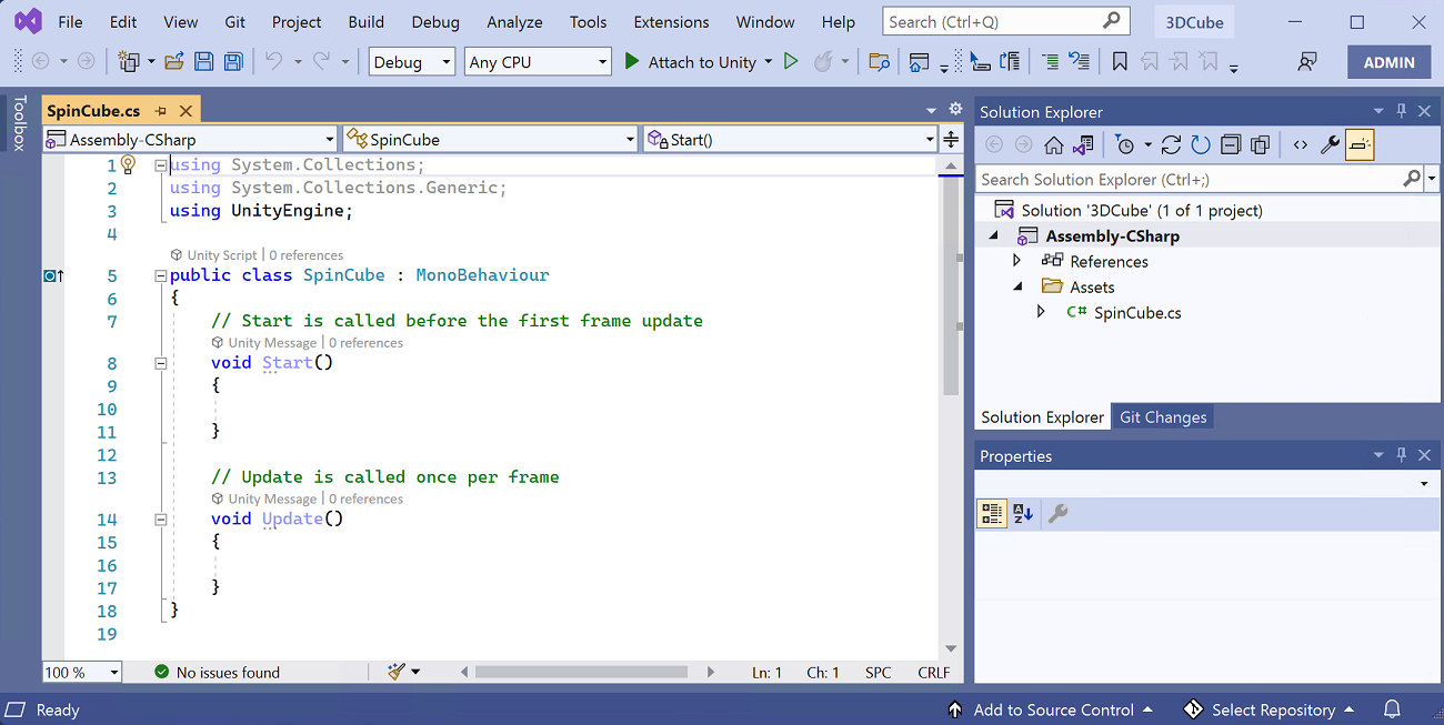 The visual studio editor window, showing some auto-generated code