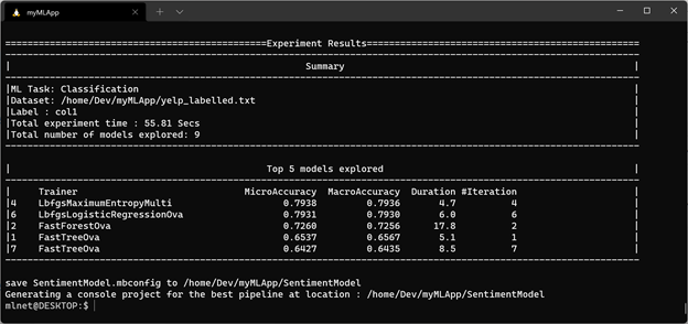 ML.NET CLI results