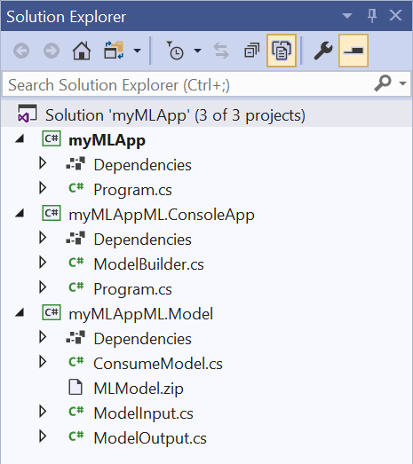 mlMLAppML.ConsoleApp and myMLAppML.Model projects are added to the myMLApp solution