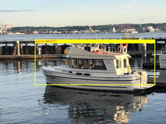 ML.NET detected a boat in the photo, using ONNX