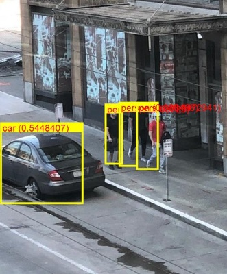 ML.NET detected a car and three people in the photo, using ONNX