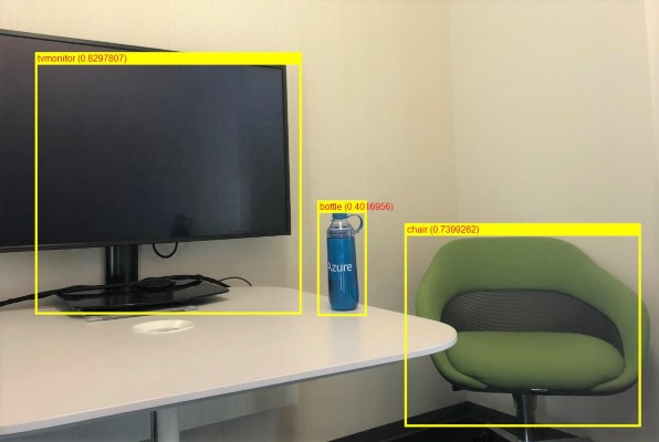ML.NET detected a TV, a water bottle, and a chair in the photo, using ONNX