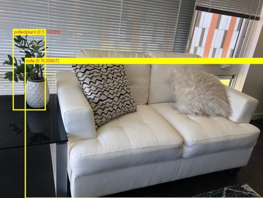 ML.NET detected a potted plant and a sofa in the photo, using ONNX