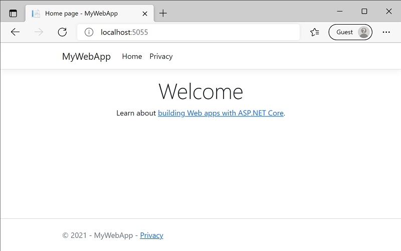 The home page of your site contains some placeholder content about ASP.NET.