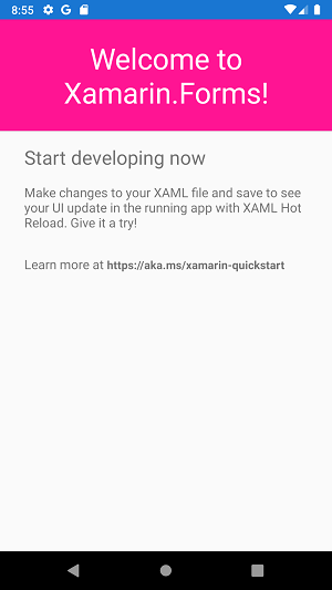 Android emulator running the Xamarin app. A 'Welcome to Xamarin.Forms!` message is displayed with the new color selected. In this case Hot Pink.