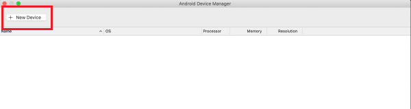 Android Device Manager that is blank with an option to create a new device.
