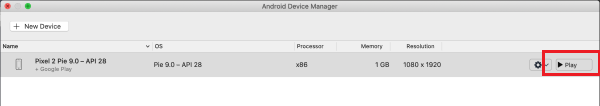 Android emulator manager showing that the emulator has been created and ready to run.
