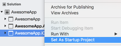 Set the iOS project as the startup project.
