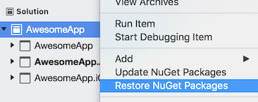 Visual Studio for Mac menu that shows the label Restore NuGet Packages.
