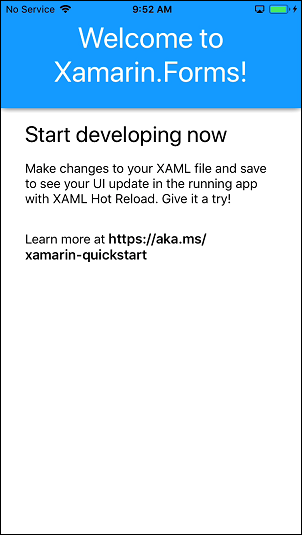 iOS emulator running the Xamarin app. A 'Welcome to Xamarin.Forms!` message is displayed.