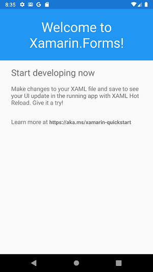 Android emulator running the Xamarin app. A 'Welcome to Xamarin.Forms!` message is displayed.