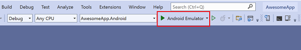 Visual Studio 2019 toolbar menu showing 'Android Emulator' as the debug target.