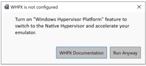 Prompt to enable Windows Hypervisor Platform